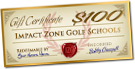 $100 Impact Zone Golf School Gift Certificate